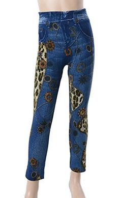 L4U Girls Faux Denim with Leopard Printed Fashion Leggings. Available in two sizes: S/M, and L/XL.