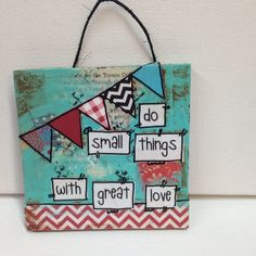 .  3x4 - 4x4. This item is hand painted and paper piecing. Cute little wooden sign on twine hanger. Example  Hand painted mixed media art on