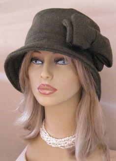Womens Winter Hat Dark Green Wool Cloche with by ruffledflamingo, $20.00