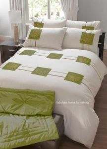 LIME GREEN CREAM FLORAL DUVET QUILT COVER EMBROIDERED