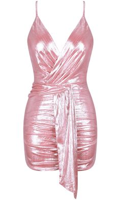 Ruched Metallic Mini Dress Pink - Luxe Party Dresses and Celebrity Inspired Dresses Glam Dresses, Cute Dresses, Short Dresses, Fashion Dresses, Party Dresses, Fashion 2018, Maxi Dresses, Metallic Mini Dresses, Pink Mini Dresses