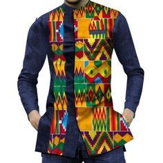 afrikanischer stil It's easy to achieve an effortlessly confident look in these handsome, high-quality African dashiki casual shirts. Your casual wear will never be the same when yo African Shirts For Men, African Dresses Men, African Attire For Men, African Clothing For Men, African Wear, African Style, African Clothes, African Outfits, Nigerian Men Fashion