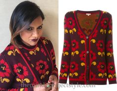 Mindy Kaling wore this floral intarsia twinset to aTV fest!
