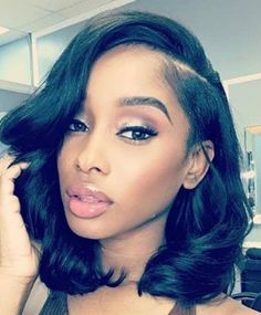 Wavy Wigs For African American Women The Same As The Hairstyle In The Picture - Wigs For Black Women - Lace Front Wigs, Human Hair Wigs, African American Wigs, Short Wigs, Bob Wigs Hairstyles With Bangs, Weave Hairstyles, Straight Hairstyles, Girl Hairstyles, Black Hairstyles, Latest Hairstyles, Gorgeous Hairstyles, 1930s Hairstyles, Bangs Updo