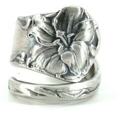 Tiger Lily Ring, Iris Ring, Sterling Silver Spoon Ring, Easter Lily, Stargazer Lily, Silver Flower Spoon Ring, Adjustable Ring Size, 5786 by Spoonier on Etsy