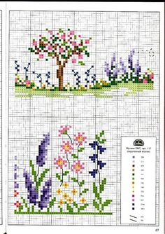 Cute miniature flowers and tree - This chart is a multi functional craft pattern. Uses include : cross stitch, crochet, knitting motifs, knotting, loom beading, Perler beading, weaving and tapestry design, pixel art, micro macrame, friendship bracelets, and anything involving the use of a charted pattern.