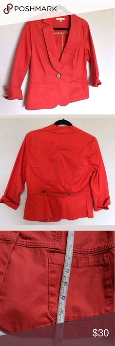 Red CAbi Unlined Blazer!!! Beautiful red unlined cropped style blazer by CAbi. Gently used and great condition. Very cute and versatile. Comes from a smoke-free pet-free home. Fast shipping! NO TRADES! CAbi Jackets & Coats Blazers