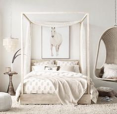 Organic textures and sun-bleached hues turn a bedroom into a casual hangout