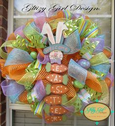 Easter Wreath with Welcome Easter Bunny Sign on Etsy, $105.00
