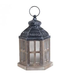WOODEN_METAL LANTERN W_LED IN BROWN COLOR 16X14X20