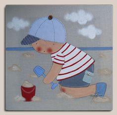 Cuadro niño en la playa - Cuadro Niño jugando en la playa. Pintado a mano sobre tela de lino color piedra. Dimensiones: 40 x 40 cm. Si quieres algún cambio de color contacta con Stencil Barcelona.