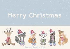 Cute animals in a row. Cute Christmas card with animals dressed up for Christmas. Animals and number of animals can be changed and names added underneath similar to my other cards. Christmas Photo Cards, Christmas Photos, Family Christmas, Christening Invitations, Birthday Party Invitations, Birthday Parties, Animal Dress Up, Christmas Animals, Personalized Stationery