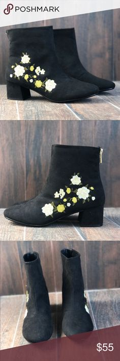 "Floral Embroidered Low Chunky Block Heel Bootie 👠 Brand: Boutique  ❌ NO TRADES EVER  🌟 True to Size   100% Vegan Suede. Synthetic sole Shaft measures approximately 6.75"" from arch Heel measures approximately 1.75 inches"" Ankle low heel bootie Boutique Shoes Ankle Boots & Booties"