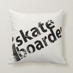 i Skateboard Pillow Black And White Throw with reversible design. Size: Throw Pillow x Color: black/white. Skateboard Deck Art, Skateboard Design, Black And White Pillows, White Throws, Dorm Pillows, Throw Pillows, Modern Sleeper Sofa, Small Baby, Custom Pillows