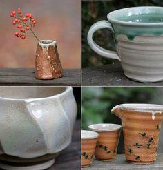 tsuchikara pottery; I like the lower left (looks like might be a celadon glaze of sorts)
