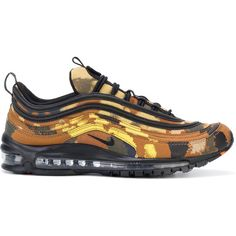 Nike Air Max 97 Premium QS Country Camo sneakers ($200) ❤ liked on Polyvore featuring men's fashion, men's shoes, men's sneakers, brown, nike mens sneakers, mens camo shoes, mens brown leather sneakers, mens camo sneakers and nike mens shoes