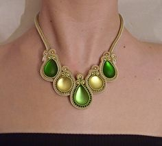 Necklace in gold and green, soutache and beads by MollyG Designs