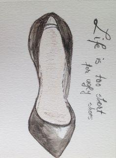 Shoes Fashion illustration minimalist Black shoe painting, custom wedding shoes, Dorm Room Decor, quote bridal gift, fashion illustration