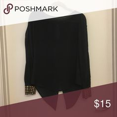 Black Long Sleeve Blouse with Gold Embellishments Cute blouse with gold embellishments on the sleeve Shasa Tops Blouses