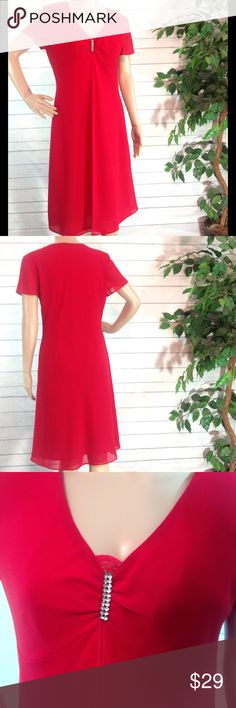 """R&K Originals Red Empire Waist Midi Dress Size 6 Beautiful, flowy, red party dress from R & K Originals. Empire waist. V-neckline embellished with rhinestone brooch and peekaboo red lace. Size 6.  Bust 17"""". Length armpit to hem 31"""". Fully lined.  100% polyester.                              🔹Please ask all questions before you purchase! I'm happy to help! 🔹Sorry, no trades or holds 🔹Please, no lowball offers 🔹Please use Offer Button! 🔹Bundle for best prices! 💕Happy Poshing! R & K…"""
