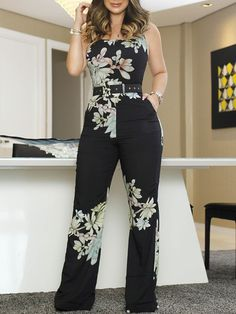 Floral Print Spaghetti Strap Wide Leg Jumpsuit - March 03 2019 at Jumpsuit Outfit, Casual Jumpsuit, Floral Jumpsuit, Elegant Jumpsuit, Bodycon Jumpsuit, Strapless Jumpsuit, Trend Fashion, Womens Fashion, Style Fashion