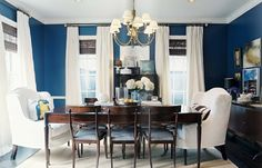 Painted the dining room Navy, now just need to decorate.  I like the white curtains, what do you think?