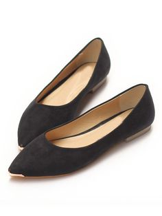 Black Faux Suede Pointed Flat Shoes