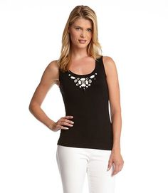 Holiday Bling ... Perfect for layering with a Holiday Sweater! On my Christmas List! BLACK KAREN KANE JEWEL TANK TOP #Holiday #Fashion
