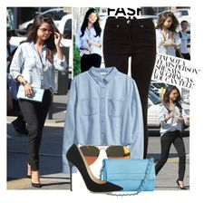 """""""Get the look: Selena Gomez"""" by jullianaisabel ❤ liked on Polyvore featuring Crafted, H&M, Knights and Roses and Jimmy Choo"""