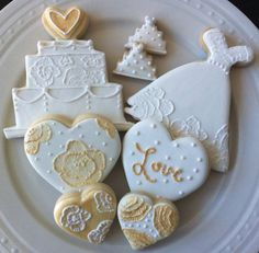 Decorated White and Gold Wedding Dress and Cake Cookies with Hearts and Minis- Perfect for Bridal Shower. $36.00, via Etsy.