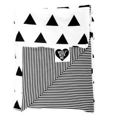 Organic XLarge Double Sided Baby Blanket Triangles and Tiny Stripes – Woolf With Me®, LLC