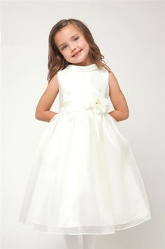 White satin and organza overlay formal girl dress
