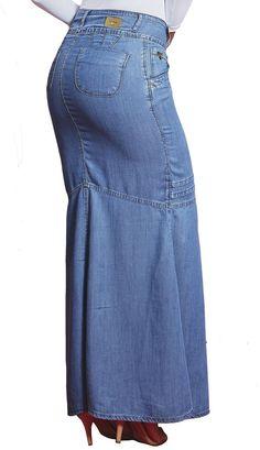 DR4712 - Saia Jeans Longa com Abertura Frontal Moda Evangélica