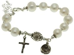 Sterling Silver 7 Sorrows Rosary Bracelet Freshwater-Cultured Pearl 10mm Beads, 7.3 ""