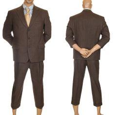 Burberry Micro Houndstooth Wool Suit Plaid Blazer Slacks Pants Brown Mens 40 S #MensSuit #SomeLikeItUsed