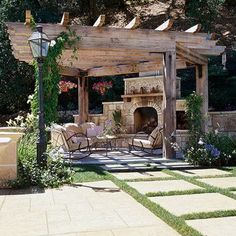 Outdoor Rooms: I love this outdoor fireplace and pergola. Whilst historical inside strategy, the pergola Outdoor Pergola, Backyard Pergola, Pergola Plans, Outdoor Rooms, Backyard Landscaping, Outdoor Gardens, Outdoor Living, Pergola Kits, Pergola Ideas