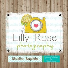 camera photography  Premade logo design ( ooak, will not be resold ) Whimsical, vintage, sketched, hand drawn, with a flower and swirls by StudioSophie, $77.00