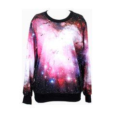 Choies Pink Galaxy Print Sweatshirt (£24) ❤ liked on Polyvore featuring tops, hoodies, sweatshirts, shirts, sweaters, galaxy, jackets, pink, galaxy shirt and galaxy sweatshirt