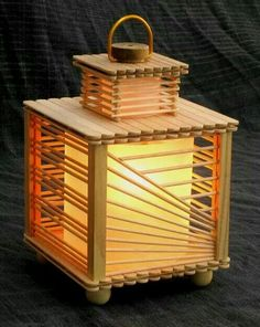 Lamp made of popsicle sticks