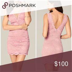 Lace bebe dress 🌸 Lace & mesh deep V dress!!! 💐 bebe Dresses Mini