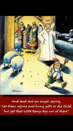 """The Far Side"" by Gary Larson. Farm Cartoon, Cartoon Jokes, Funny Cartoons, Far Side Cartoons, Far Side Comics, Christmas Cartoons, Christmas Humor, Christmas Cards, Banjo Boy"