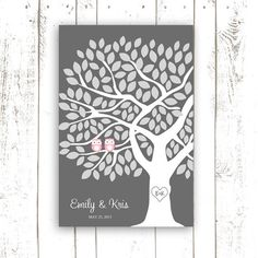 Wedding Guest Book Poster - Owl Guestbook Tree Pink and Gray Guest Book with Owls - Wedding Guestbook for 125 Guests