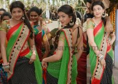 Kajal Half and Half Saree | Saree Blouse Patterns