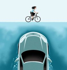 A Car Emerges From The Deep Toward A Bicyclist Drawing by Christoph Niemann Bicycle Art, Bicycle Design, Christoph Niemann, Bike Illustration, Beautiful Roads, Fish Drawings, Racing Motorcycles, Shark Week, Cycling Art
