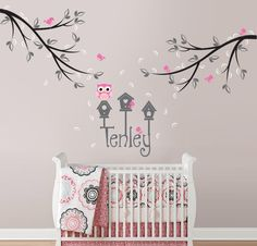Owl, Bird and Branch Wall Decal with Custom Name and Birdhouses for Baby Nursery, Kids, Childrens Room Decor. $65.00, via Etsy.