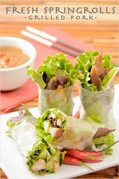 Vietnamese spring rolls: Goi+Cuon+(Vietnamese+Fresh+Spring+Rolls)+with+Hoisin+Peanut+Dipping+Sauce+Recipe Vietnamese Cuisine, Vietnamese Recipes, Asian Recipes, Asian Foods, Easy Delicious Recipes, Great Recipes, Yummy Food, Healthy Recipes, Easy Recipes
