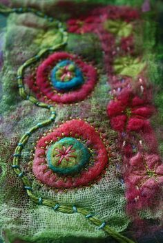 Pink and green embellisher play with machine and hand embroidery, by jillyspoon on flickr