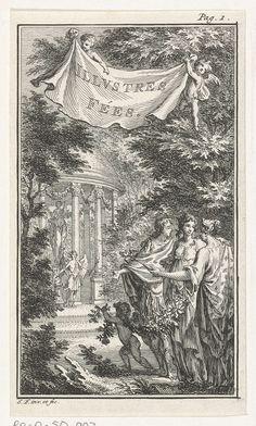 Simon Fokke | Personificatie van Arbeid en Vlijt in een tuin, Simon Fokke, 1722 - 1784 | In een tuin houdt de personificatie van Arbeid en Vlijt, gehuld in een kleed bedrukt met mieren, een gevleugeld handje op scepter vast. Ze wordt vergezeld door een man, vrouw en een putto met guirlande. In de verte staat een engel met fakkel voor een beeld in een prieel. In de lucht houden twee putti een doek vast met de tekst: Illustres Fées. Prent rechtsboven gemerkt: Pag. 1.