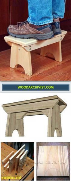 Foot Stool Plans - Furniture Plans and Projects - Woodwork, Woodworking, Woodworking Tips, Woodworking Techniques Woodworking Furniture Plans, Easy Woodworking Projects, Diy Wood Projects, Wood Crafts, Woodworking Techniques, Woodworking Kits, Furniture Making, Wood Furniture, Modern Furniture
