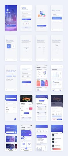 ioFit Diet & Training App UI Kit - App Templates - Ideas of App Templates - ioFit is a customizable and well organized diet and training app UI Kit. Sketch file is fully layered and vector illustration file is included. Free Open Source font is used. Kpi Dashboard, Dashboard Design, Ui Ux Design, Application Ui Design, Layout Design, Design Logo, Design Poster, Best App Design, Financial Dashboard